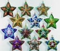 Kubla Crafts Cloisonne KUB 0-4391 Cloisonne Star Ornament Set of 12