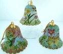 Kubla Crafts Cloisonne KUB 0-4509 Large Cloisonne Bell Ornament Set of 3