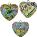 Kubla Crafts Cloisonne KUB 0-4557 Cloisonne Heart Ornament Set of 3