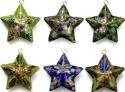 Kubla Crafts Cloisonne KUB 0-4662 Cloisonne Star Ornament Set of 6
