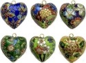 Kubla Crafts Cloisonne KUB 0-4663 Cloisonne Heart Ornament Set of 6