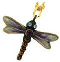 Kubla Crafts Bejeweled Enamel KUB 00-3749N Purple Dragonfly Necklace