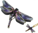 Kubla Crafts Bejeweled Enamel KUB 00-3749PN Dragonfly Box and Necklace