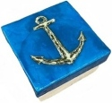 Kubla Crafts Capiz KUB 1-1599 Anchor Turquoise Capiz Box