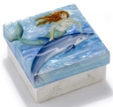 Kubla Crafts Capiz KUB 1-1748 Dolphin Ride Large Capiz Box