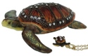 Kubla Crafts Bejeweled Enamel KUB 1-4178BN Brn Sea Turtle Box with Necklace