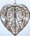 Kubla 102 Antique Gold Wire Heart Ornament Set of 6