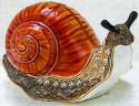Kubla Crafts Bejeweled Enamel KUB 11-4005B Orange Snail Box