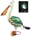 Kubla Crafts Capiz KUB 1330 Pelican Fused Glass with Solar Light
