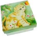 Kubla Crafts Capiz KUB 1572C Capiz Box Kitten with Butterfly