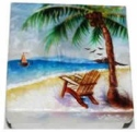 Kubla Crafts Capiz KUB 1578 Capiz Box Large Beach Scene