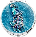Kubla Crafts Bejeweled Enamel KUB 1962 Peacock Compact Mirror
