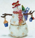 Kubla Crafts Bejeweled Enamel KUB 2-4094 Whimsical Snowman Box