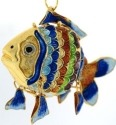 Kubla Crafts Cloisonne KUB 2-4952 Cloisonne Art Small Fish Ornament