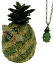 Kubla Crafts Bejeweled Enamel KUB 23-3890PN Pineapple Box with Necklace