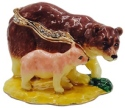 Kubla Crafts Bejeweled Enamel KUB 3071 Bear and Cub Box