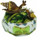 Kubla Crafts Bejeweled Enamel KUB 3258 Jewel Enamel Glass Box Snail