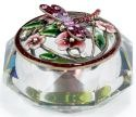 Kubla Crafts Bejeweled Enamel KUB 3265 Enamel Glass Top Box Pink Dragonfly
