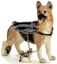 Kubla Crafts Bejeweled Enamel KUB 3315GN German Sheperd Box with Necklace
