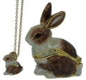 Kubla Crafts Bejeweled Enamel KUB 3418RN Brown Rabbit with Necklace