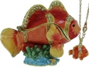 Kubla Crafts Bejeweled Enamel KUB 3428CN Clown Fish Box with Necklace