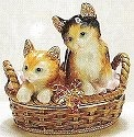 Kubla Crafts Bejeweled Enamel KUB 3441 Kitten in Basket Box