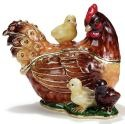 Kubla Crafts Bejeweled Enamel KUB 3462 Hen and Chick Box