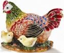 Kubla Crafts Bejeweled Enamel KUB 3495 Hen Large with Chicks Box