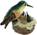 Kubla Crafts Bejeweled Enamel KUB 3764 Hummingbird and Nest Box