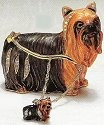 Kubla Crafts Bejeweled Enamel KUB 3935YN Yorkie Yorkshire Terrier Box and Necklace