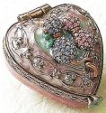 Kubla Crafts Bejeweled Enamel KUB 3945B Heart Box with Cat Purple