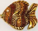 Kubla Crafts Bejeweled Enamel KUB 3947 Golden Fish Box with Austrian Crystal