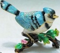 Kubla Crafts Bejeweled Enamel KUB 4-4017 Blue Jay Large Box