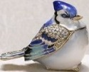 Kubla Crafts Bejeweled Enamel KUB 4-4164 Blue Jay Box