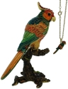 Kubla Crafts Bejeweled Enamel KUB 4025PN Parrot Box with Necklace