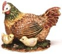 Kubla Crafts Bejeweled Enamel KUB 4034 Hen with Chicks Box