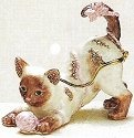Kubla Crafts Bejeweled Enamel KUB 4044 Kitten With Yarn Box