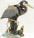 Kubla Crafts Bejeweled Enamel KUB 4056 Blue Heron Box