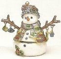 Kubla Crafts Bejeweled Enamel KUB 4098 Twig Arm Snowman Box