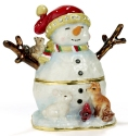 Kubla Crafts Bejeweled Enamel KUB 4192 Woodland Snowman Box