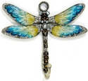 Kubla Crafts Bejeweled Enamel KUB 4205C Jeweled Enamel Blue Dragonfly Wall Hook