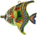 Kubla Crafts Cloisonne KUB 4335G Bejeweled Angel Fish Ornament Green