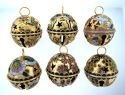 Kubla Crafts Cloisonne KUB 4437 MD. Sleigh Bells Set of 6
