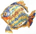 Kubla Crafts Cloisonne KUB 4884PY Cloisonne Large Art Ripple Fish Ornament