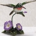 Kubla Crafts Bejeweled Enamel KUB 5-3589 Hummingbird Box with Morning Glory