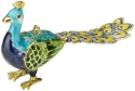 Kubla Crafts Cloisonne KUB 5-4740BL Bejeweled Peacock Blue Ornament
