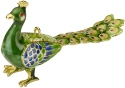 Kubla Crafts Cloisonne KUB 5-4740GR Bejeweled Peacock Ornament Green