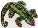 Kubla Crafts Cloisonne KUB 6-4853DG Dark Green Lizard with Wood Stand