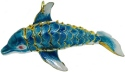 Kubla Crafts Cloisonne KUB 6-4885T Cloisonne Large Dolphin Ornament Turquoise