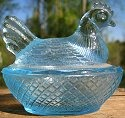 Estate Items 12 L E Smith Hen on Nest Colonial Blue